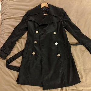 XS Tahari Black Trench Coat